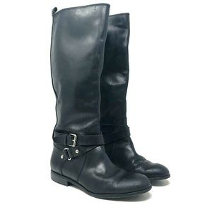 Enzo Angiolini Black Leather Harness Riding Boots